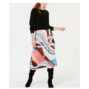 Bar III Printed Pleated Midi Skirt,